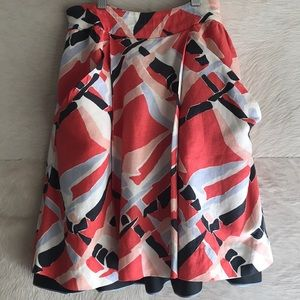 Anthro skirt linen fully lined red pink white blue